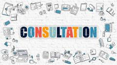 Consultation Concept with Doodle Design Icons Stock Illustration