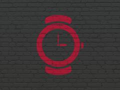 Time concept: Watch on wall background - stock illustration