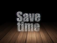 Time concept: Save Time in grunge dark room Stock Illustration