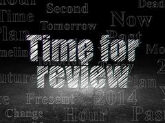Time concept: Time for Review in grunge dark room Stock Illustration