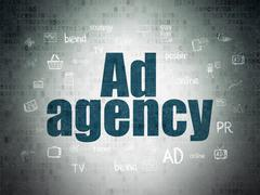 Marketing concept: Ad Agency on Digital Data Paper background - stock illustration