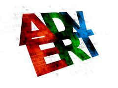Marketing concept: Advert on Digital background - stock illustration