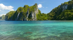 Beautiful island with blue bay. El Nido, Palawan, Philippines Stock Footage
