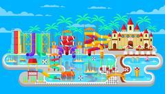 illustration of exterior water park - stock illustration
