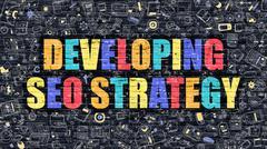 Multicolor Developing SEO Strategy on Dark Brickwall Stock Illustration
