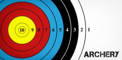 Archery message on a white background  against digital image of a target - stock illustration