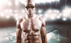 Composite image of swimmer ready to dive against swimming pool Stock Photos