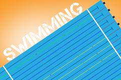 Swimming message on a white background against orange vignette Stock Illustration