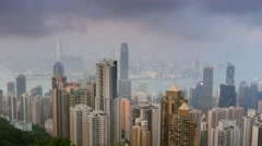 Panning shot of Hong Kong skyline. View from Victoria Peak. Stock Footage