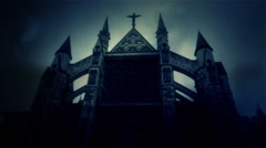 Spooky Church at Night Under a Lightning Storm and Rain Stock Footage