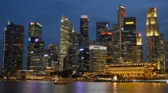 Shot of Singapore skyscrapers at night time Stock Footage