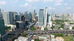 Central Bangkok Panorama Aerial Video Stock Footage