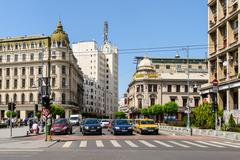 Victory Avenue (Calea Victoriei) Downtown Of Bucharest City - stock photo