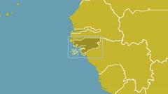 Guinea Bissau - 3D tube zoom (Mollweide projection). Continents Stock Footage