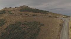 Aerial Footage over Road, Akaroa Stock Footage