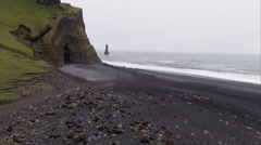 Black Sand Beach Aerial In Vík Iceland Stock Footage