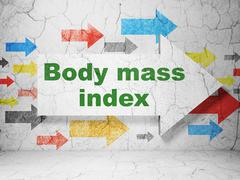 Healthcare concept: arrow with Body Mass Index on grunge wall background - stock illustration