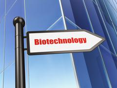 Science concept: sign Biotechnology on Building background - stock illustration