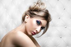 Studio portrait of a sexy blond Stock Photos