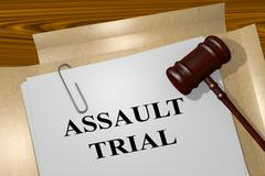 Assault Trial legal concept Stock Illustration
