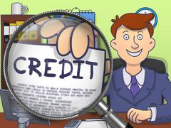 Credit through Magnifier. Doodle Style - stock illustration