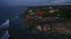 4K Aerial Drone Pull Back Shot of Single Fin Bar in Uluwatu Bali Indonesia Stock Footage