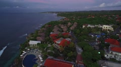4K Aerial Drone Pull Back Reveal Shot of Single Fin Bar in Bali Indonesia Stock Footage