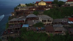4K Aerial Drone Rise Tilt Down Shot of Single Fin Bar in Uluwatu Bali Indonesia - stock footage