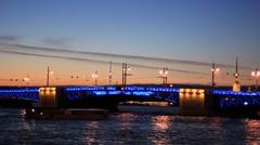 Illuminated drawbridge in Saint Petersburg - stock footage