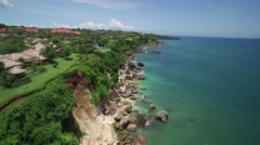 4K Aerial Drone Tilt Down Shot of Beach at Ayana Resort Bali Indonesia - stock footage