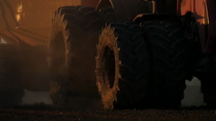 Tractor in the Kazakh steppes wheel Stock Footage