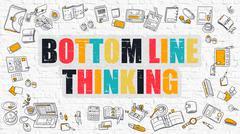 Bottom Line Thinking Concept. Multicolor on White Brickwall Stock Illustration