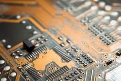 Electronic circuit blur - stock photo
