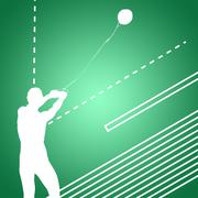 Portrait of sportswoman practising hammer throw  against green vignette Stock Illustration