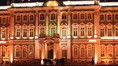 State Hermitage Museum buildings at white night Stock Footage