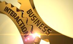 Business Interaction on Golden Gears - stock illustration