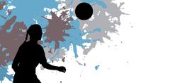 Woman soccer player waiting the ball against different black silhouette - stock illustration