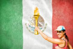Happy woman raising a cup  against digitally generated mexican national flag - stock photo