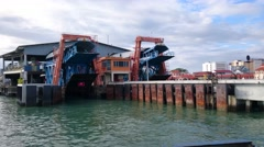 Passenger POV Inside Penang Ferry Approaching Jetty - stock footage