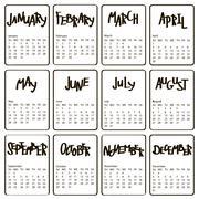 Handwritten names of months. 2017 calendar template. First day Sunday Stock Illustration