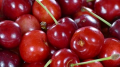 Cherry in basket rotating, close up Stock Footage