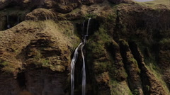 Small Waterfall Pan Zoom Out Viewing Birds Stock Footage