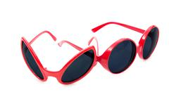 Red sunglasses isolated on white Stock Photos