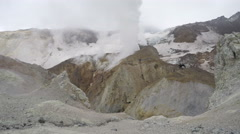 Crater of active volcano: hot spring, fumarole, thermal field Stock Footage