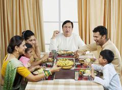 Gujarati family having lunch Stock Photos