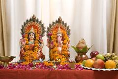 Ganesh and Lakshmi idols Stock Photos