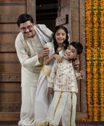 Portrait of a South Indian family Stock Photos