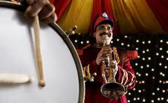 Bandmaster holding a trumpet Stock Photos