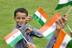 School boy holding the Indian Flag Kuvituskuvat