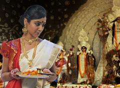 Bengali woman celebrating Durga puja Stock Photos